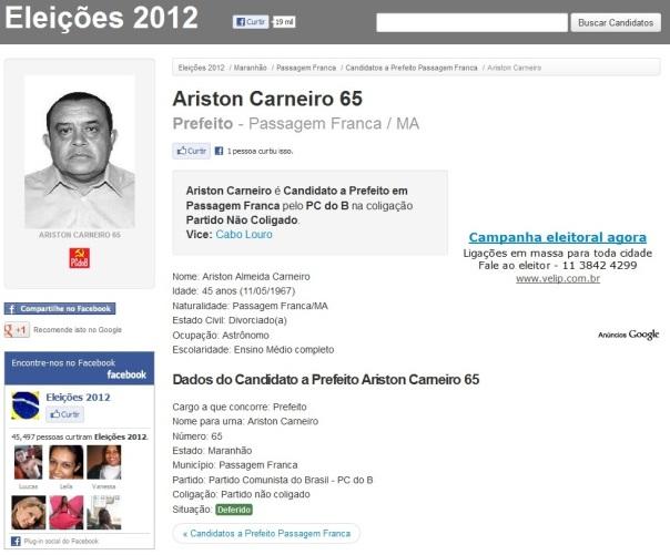 Candidato a Prefeito Ariston