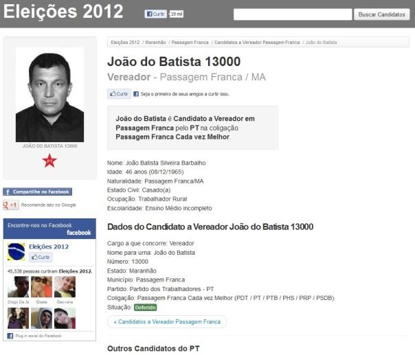 Candidato a Vereador João